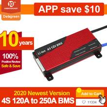 Deligreen bms 4S 12v 80a 100a 120a 200a pwb bms para 3.2v lifepo4 bateria 18650 bateria de lítio