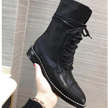 zapatos de mujer Genuine Leather Black Women Ankle Boots Sexy Rivets Studed Round Toe Lace Up Short Winter Booties