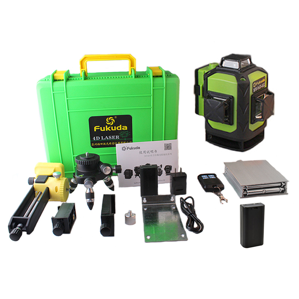 2 Pcs Battery Fukuda Professional 16 Line 4D laser level  Green Beam 360 Vertical And Horizontal Self-leveling Cross for outdoor