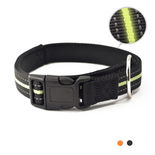 купить Reflective padded Dog collar Nylon with metal ring for Lead Leash pet products for small medium large dogs in black orange дешево
