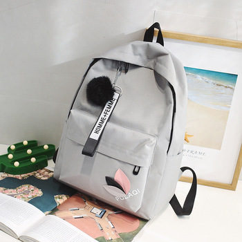 2020 Solid backpack girl school bags for teenage College wind Women SchoolBag High student bag black nylon printing - Gray, China