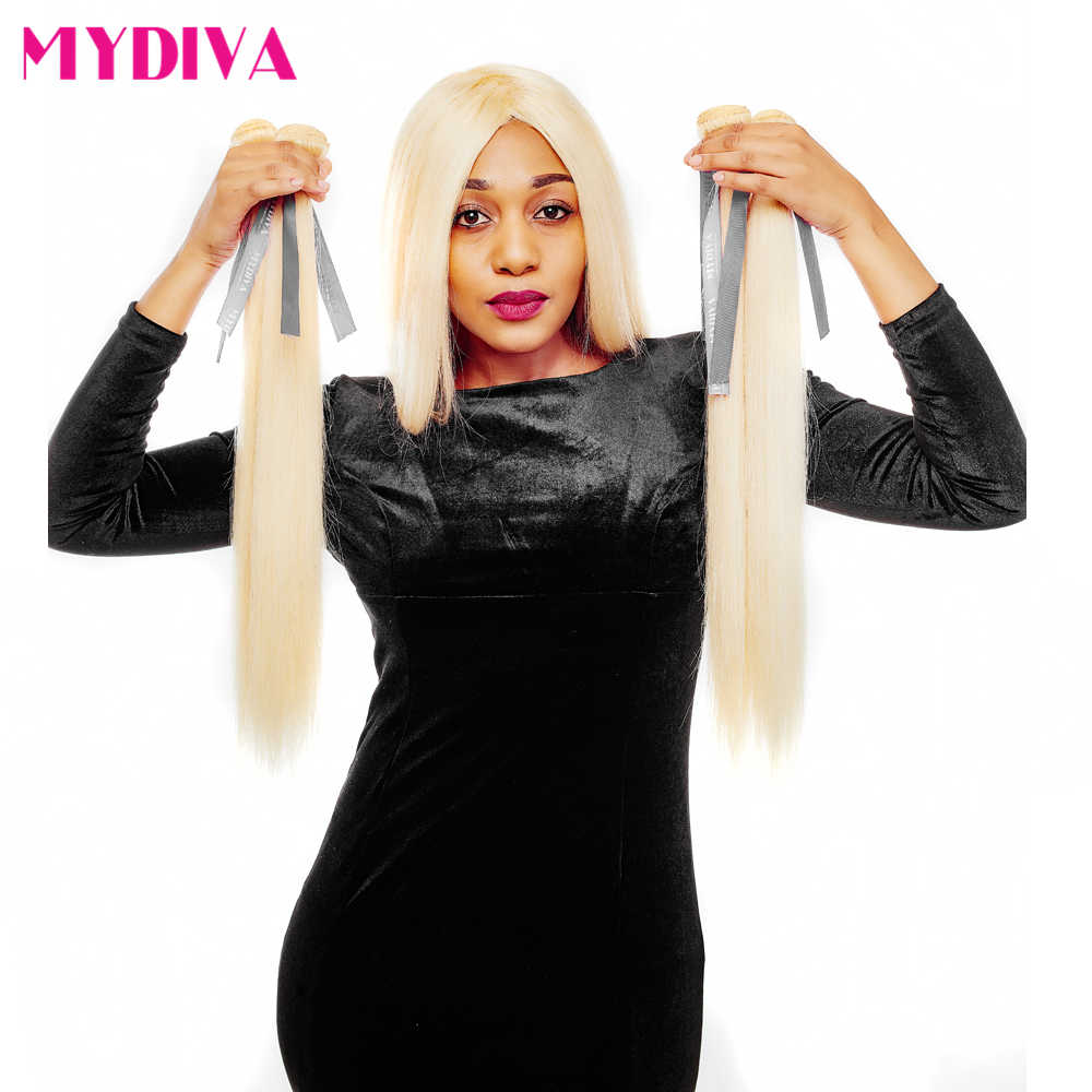 613 Blonde Hair Bundles Brazilian Hair Weave Bundles 100% Honey Straight Human Hair Extensions No Shed Tangle Remy Hair Mydiva
