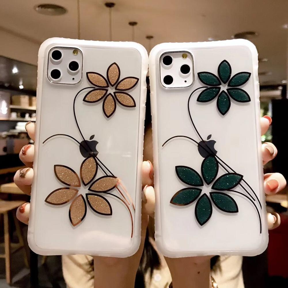 LOVECOM Glitter Flower Shockproof Phone Case For IPhone 11 Pro Max XR XS Max 7 8 6 6S Plus X Electroplated Soft IMD Back Cover