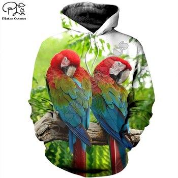 PLstar Cosmos Animal Parrot Flower Bird Tracksuit Retro Funny Streetwear 3D Printed Zip Hoodies/Sweatshirts/Jacket style-4