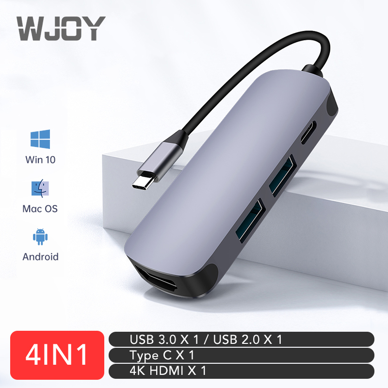 WJOY Type C 4 in 1 Hub USB 3.0 2.0 Multi USB C Docking Station Laptop Switch HDMI for MacBook Pro Air for Notebook Laptop Phone