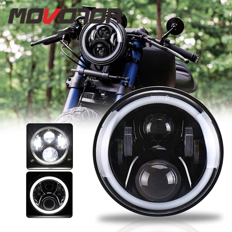 White Angel Eyes 7inch Led Headlight For Honda CB400 CB750 CB1300 Hornet 250 600 900 VTEC VTR250 Motorcycle Accessories
