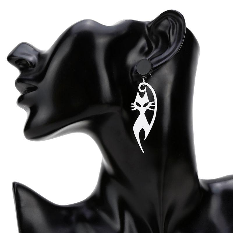 Gli Amanti Del Gatto Orecchini a pendaglio Dichiarazione acrilico Nero Bianco Per Le Donne Gioelleria raffinata e alla moda - 3