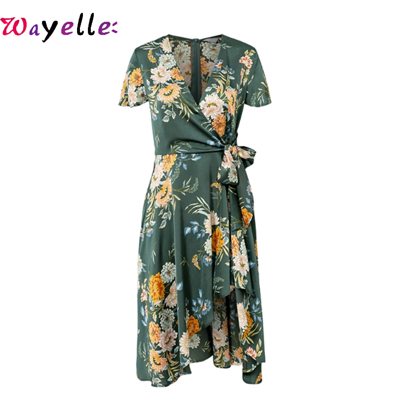 Summer Women Dress Elegant Floral Print Satin Wrap Lady Dress V-neck High Waist Sexy Dress Bow Tie Green Casual Female Dresses