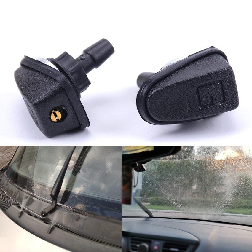 1 pc universal carro pára-brisa lavadora limpador de água spray bico plástico preto ventilador em forma ajustável bocal do carro suprimentos