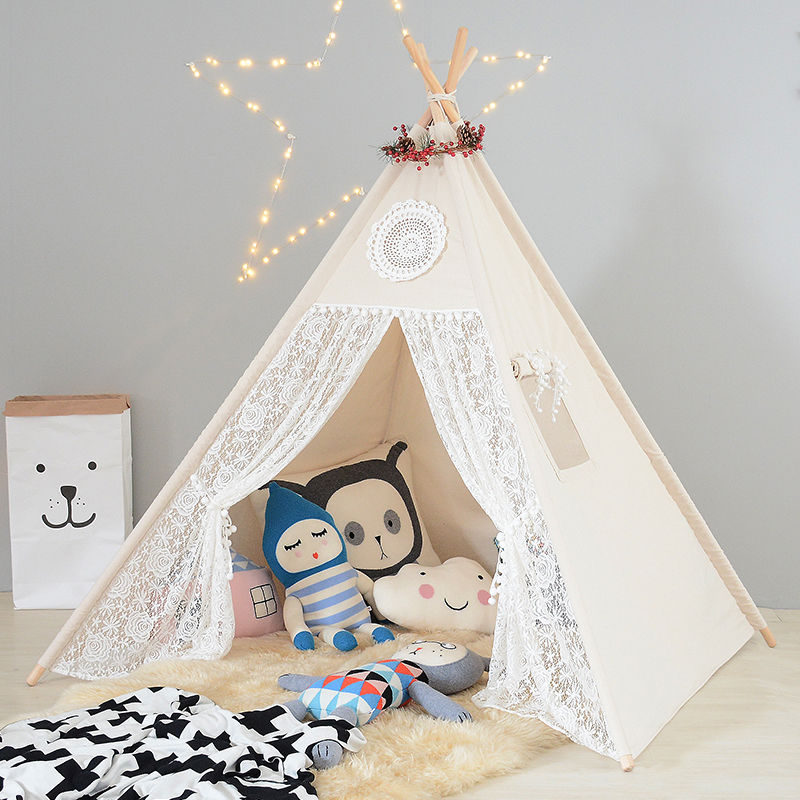 Natural Canvas Lace Gilrs PomPoms Teepee Tent for Kids Play Tipi Tent Childrens Wigwam Tee Pee Tent image