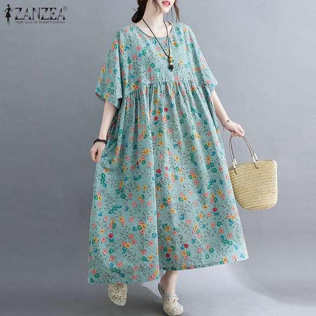 ZANZEA Women Vintage Floral Printed Long Dress Summer Half Sleeve Baggy Beach Vestidos Plus Size Casual Loose Sundress Femme 2