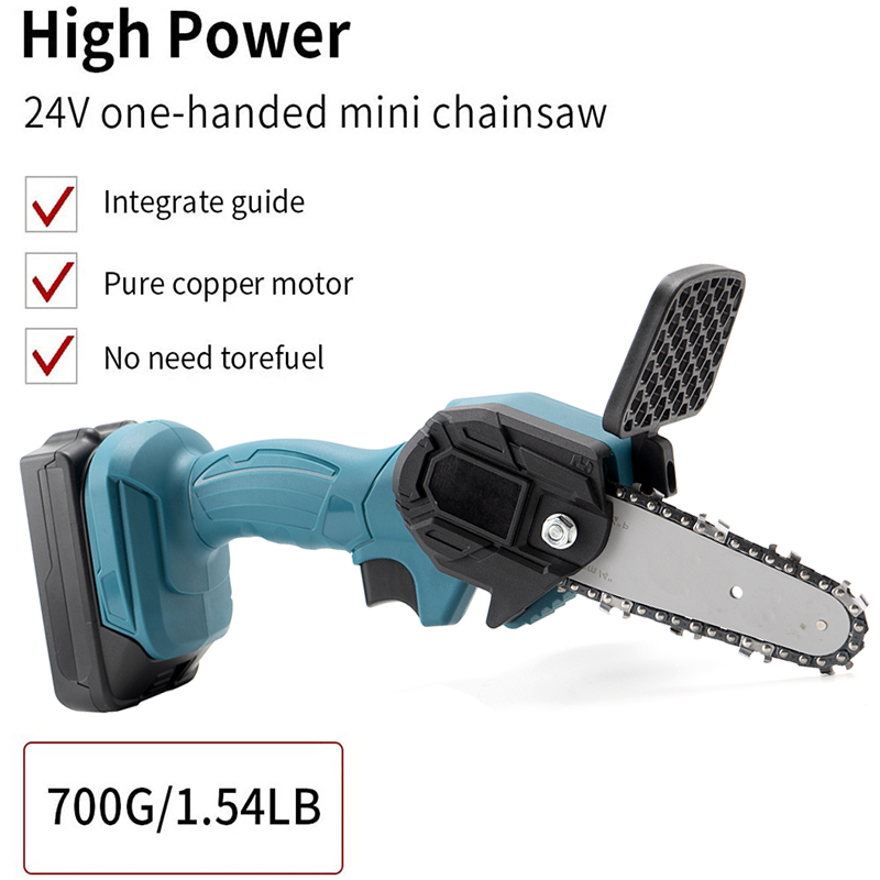 Tools : 24V Mini ChainSaw Electric Pruning Chain Saw For Wood Cutting Cordless Garden Tree Logging Trimming Saw With Lithium Battery
