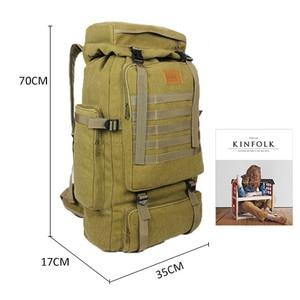 Image 5 - 60L大型軍用バッグキャンバスバックパック戦術的なバッグキャンプハイキングリュックサック軍mochilaタクティカ旅行モール男性屋外XA84D