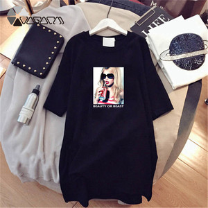 Женская летняя футболка с коротким рукавом, модная повседневная свободная мини-футболка большого размера с принтом для беременных, 2020