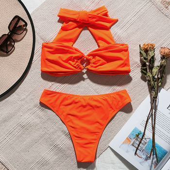 In-X Orange bikini 2019 Sexy high neck swimsuit female Biquinis push up swimwear women Ring bathing suit summer Bathers 2 piece 1