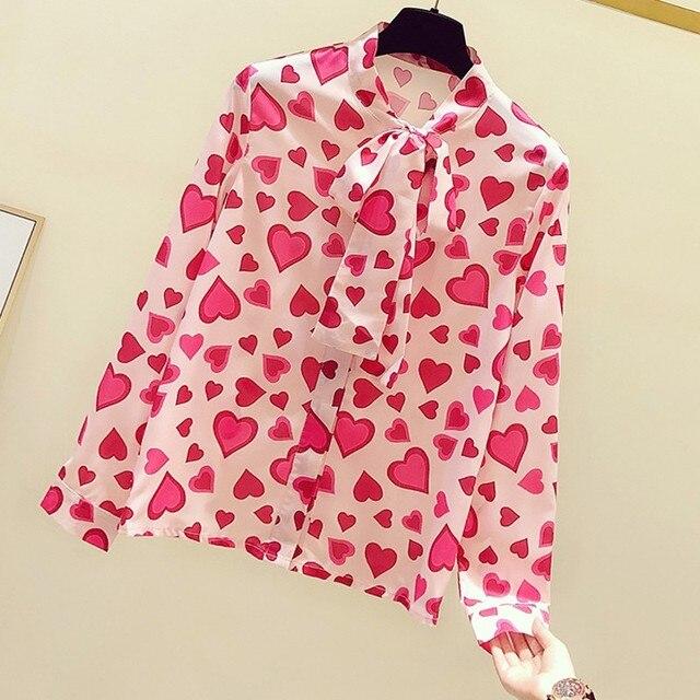 Coeur en mousseline de soie noeud cou femmes blouse 2020 été nouveau à manches longues en vrac bureau dame élégant pulls hauts t-shirts