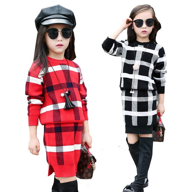 5 ~ 11T adolescents filles printemps automne tenues vêtements pour adolescente fille grille hauts jupe vêtements ensemble formel Boutique Plaid vêtements
