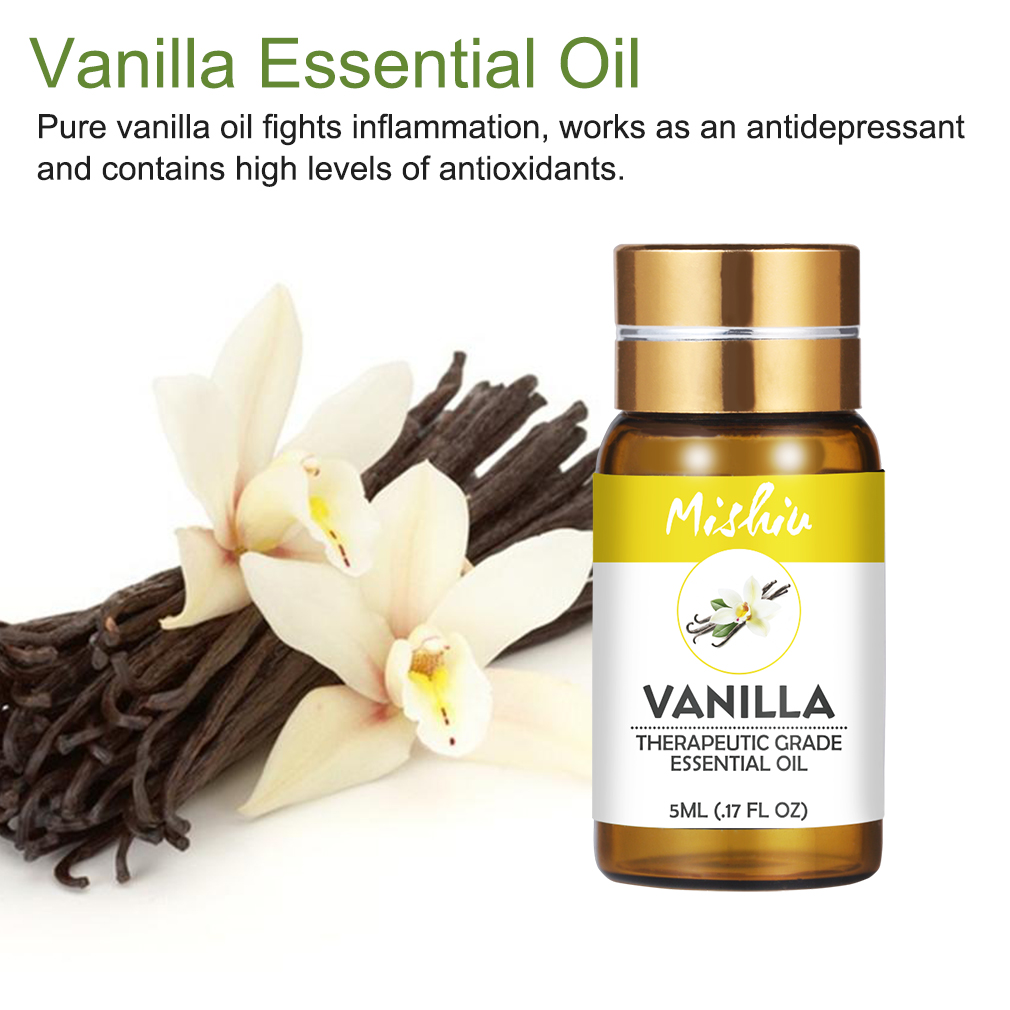 Mishiu 5ML Vanilla Essential Oil Pure Relieve Body Stress Skin Care Vanilla Oil Fights Inflammation Flower Fruit Essential Oil