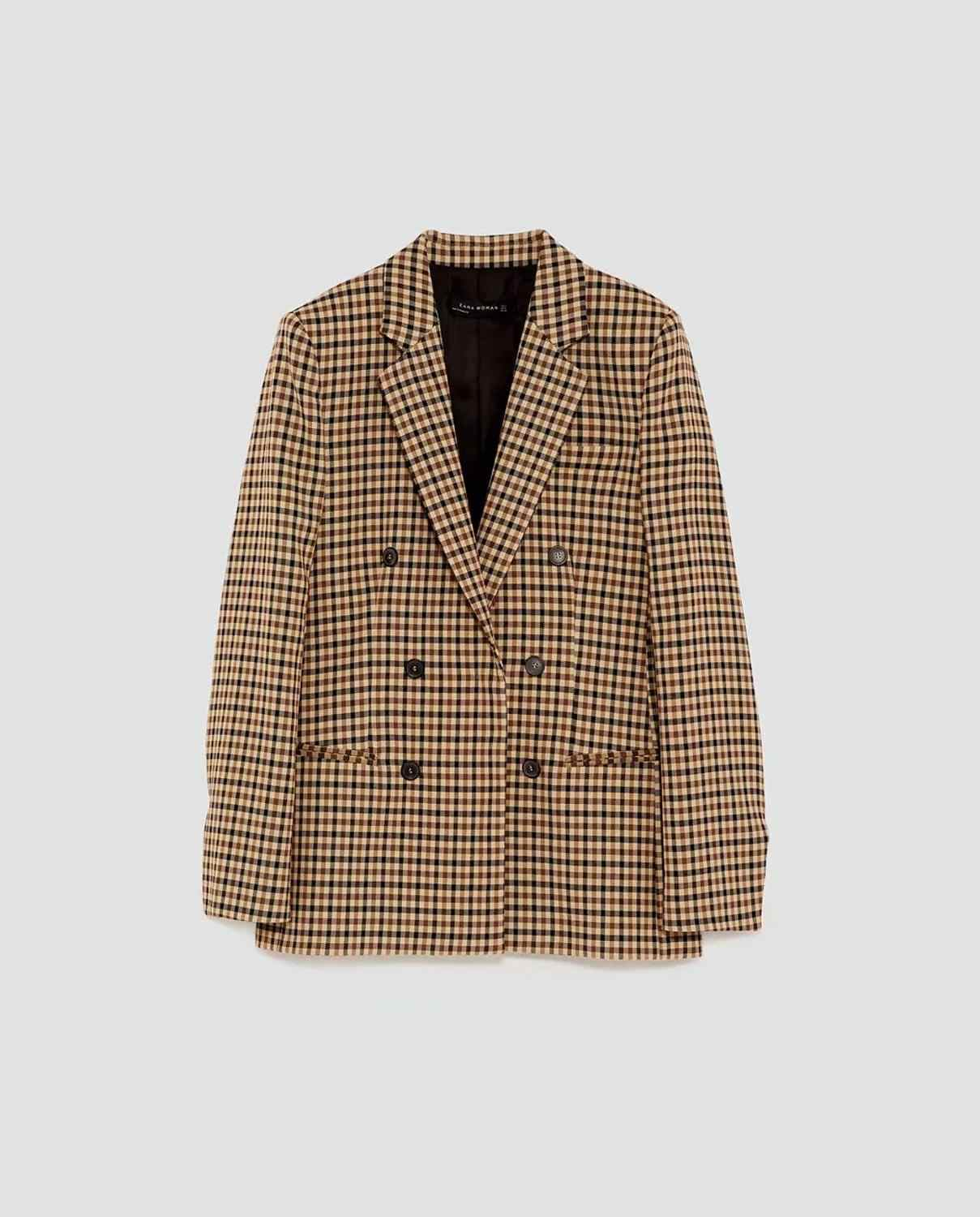2019 Autumn Women's suit plaid jacket casual vintage chic coat female ZA style blazer Double-breasted outerwear women