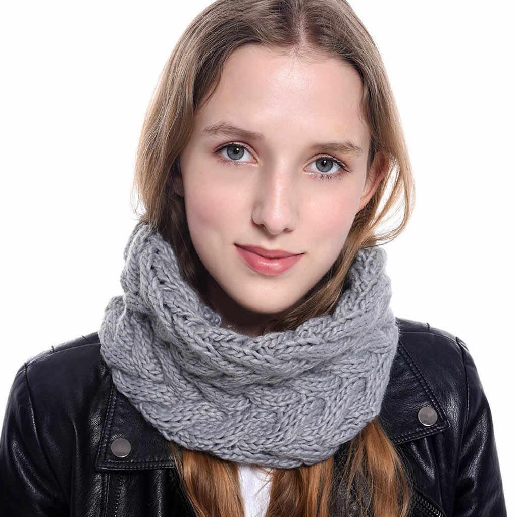 2020 ฤดูใบไม้ร่วงใหม่ผู้หญิงฤดูหนาว Chunky ถักคอผ้าพันคอวงกลมหนาถักผ้าพันคอคอ Circle Snood Shawl #1004