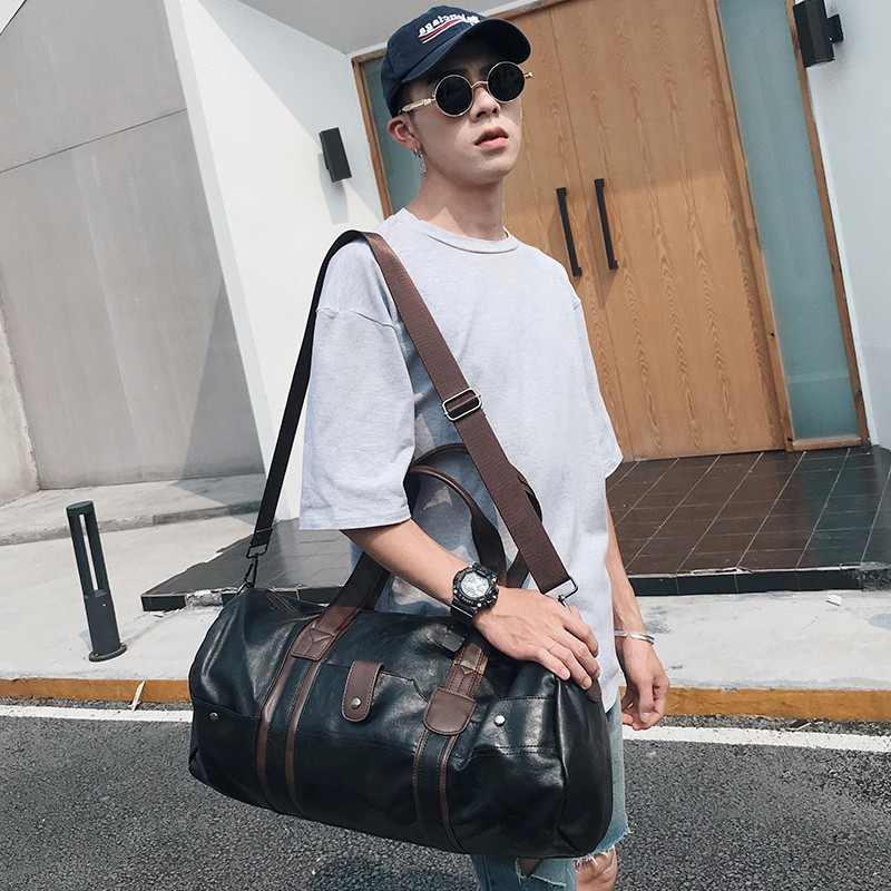 New Casual Shoulder Bag Stylish And Simple Cylindrical Luggage Bag Men's Sports Fitness Training Bag Trendy Men's Travel Bag