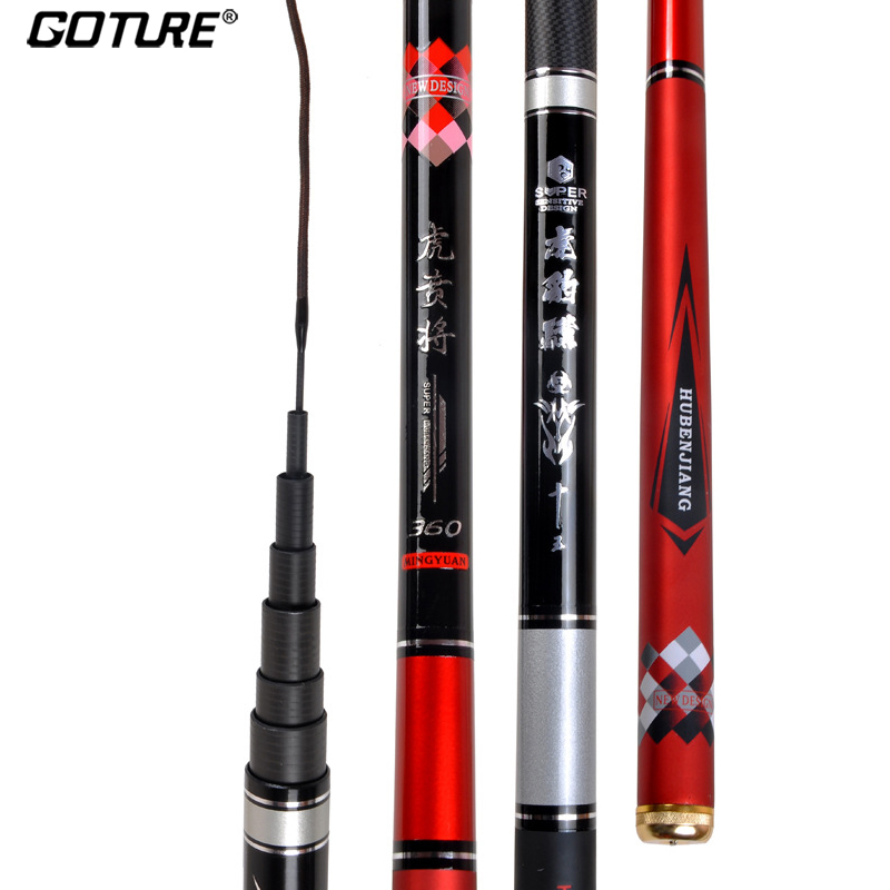 Goture 1/9 Power Telescopic Fishing Rod 3.6m 3.9m 4.5m 5.4m 6.3m Superhard Hand Rod Carbon Fiber Stream Fishing Rod Tenkara Pole