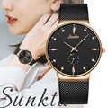 SUNKTA nowoczesny zegarek kwarcowy czarny mężczyzna kobiet bransoletka z siatki ze stali nierdzewnej wysokiej jakości casual zegarek na prezent dla kobiety