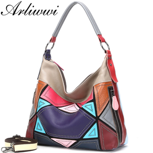 Image 2 - Arliwwi Genuine First Layer of Cow Leather Shoulder Bags Women Luxury New Rivet Real Leather Messenger Handbags For Female GM02