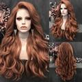 Длинный волнистый парик Charisma, оранжевый, красный цвет, боковая часть, синтетический передний парик, серебристо-серый парик для женщин, парик...