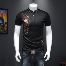 Embroidery Homme Mens Clothes Trend Para Hombre 2020 Men Fashion Short Sleeved Shirt Lapel Mannen Polo(China)