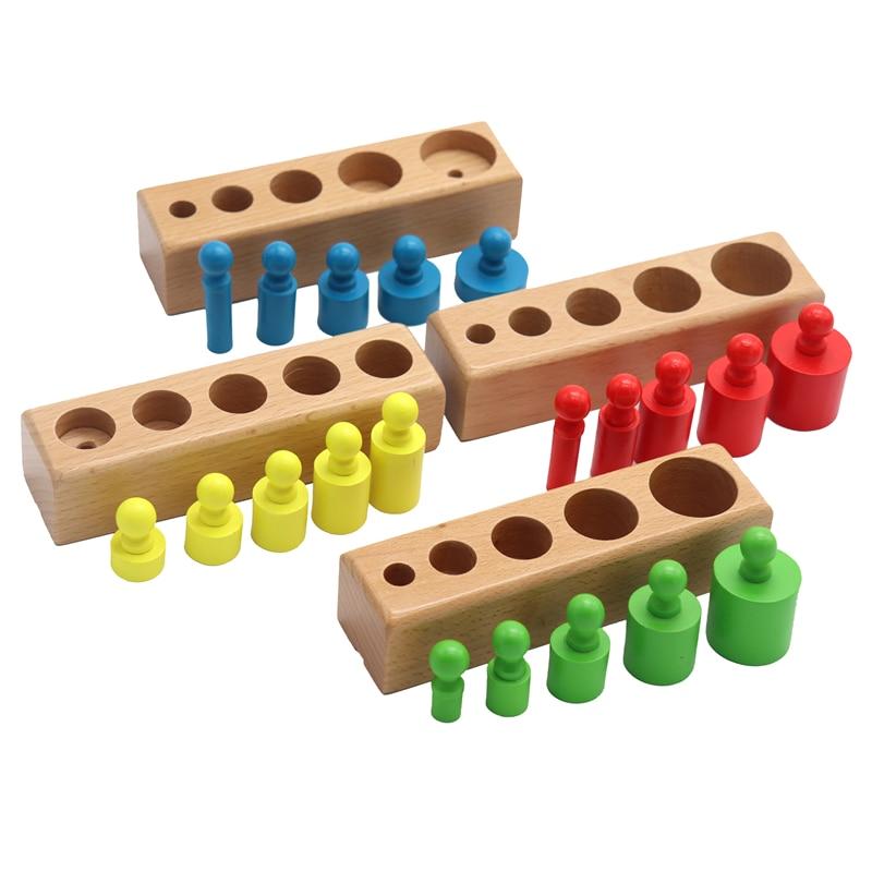 Головоломка Монтессори с цилиндрической розеткой, игрушка для обучения развитию ребенка, дошкольные Развивающие деревянные игрушки для детей 2