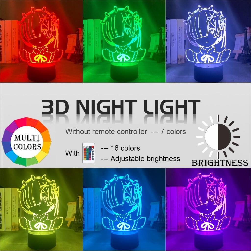 Details about  /Anime Rem Re Zero Figure Night Light Led Color Changing Bedroom Decor Desk Gift