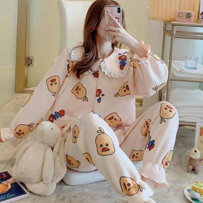 New month clothes autumn and winter air layer breastfeeding large size thick warm feeding clothes pregnant pajamas home service
