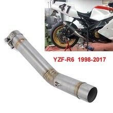 1998 2017 für YAMAHA YZF R6 YZF R6 Motorrad 51mm Link Nahen Rohr Volle System Schalldämpfer Front Header Rohr auspuff YZFR6