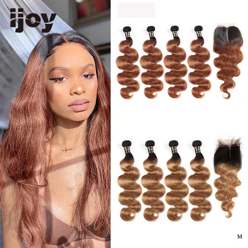 """Body Wave Human Hair 4 Bundles With Closure 4x4 Lace #T1B/30 Brown Caramel 8""""-26"""" M Brazilian Hair Weave Bundles Non-Remy IJOY"""