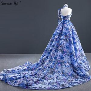 Image 4 - ブルーワンショルダーのセクシーなマーメイドイブニングドレス 2020 ハンドメイド刺繍の花フォーマルドレス穏やかな丘 HM67028