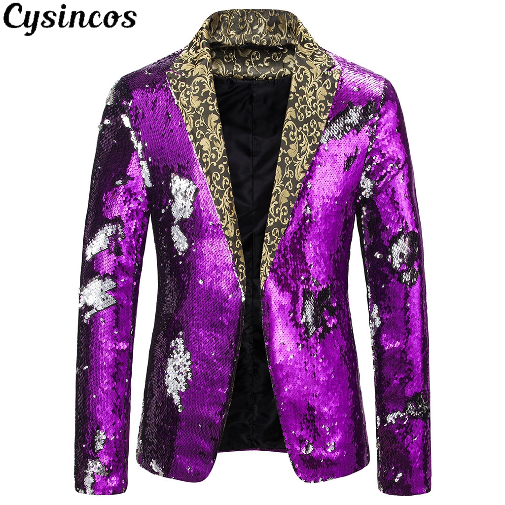 CYSINCOS New Men  Sequin Double Breasted One Button Suit Men Wedding Party Stage Singer Costumes Nightclub Prom Blazer