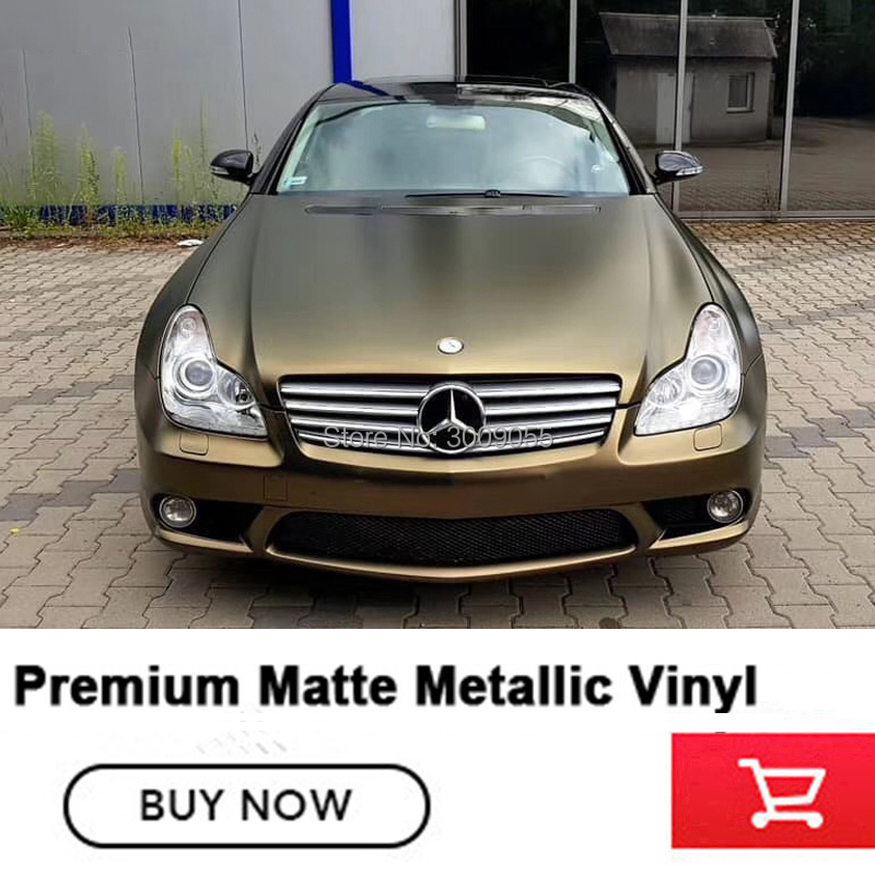 High end Matte Metallic pearl metal bond gold vinyl wrapping film with air release channels solvent
