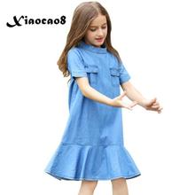 summer girls solid dress Blue denim short sleeve princess dresses for girls kids elegant party clothing fits 6~16Years b s123 new fashion spring girls elegant dresses summer short sleeve princess dress 5 14t teenager kids solid color lace dress