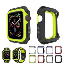 купить Silicone+PC Hard Armor Case for Apple Watch 4 5 40MM 44MM Frame Full Protective Bumper Cover for iWatch 3 2 1 38MM 42MM по цене 129.61 рублей