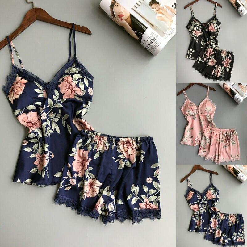 2pcs Women Sexy Satin Lace Sleepwear Babydoll  Nightdress Pajamas Set