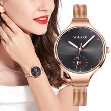 Fashion Women Black Wrist Watches For Women Rose Gold Flower Dial Clock Luxury Diamond Ladies Dress Waterproof Mesh Steel Watch guou womens watches waterproof fashion dress ladies wrist watch simple date dial clock rose gold watch female pink black purple