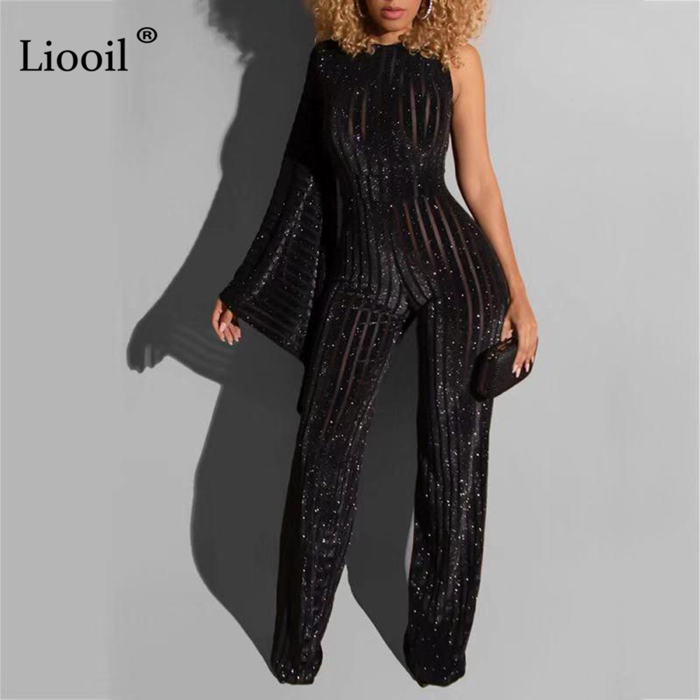 Liooil One Shoulder Sexy Sequin Corduroy Jumpsuits For Women 2020 Flare Sleeve See Through Party Club Jumpsuit Black Overalls