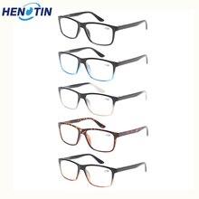 5 pack Retro rectangular frame reading glasses for men and women spring hinge quality eyewear  0.5 to 6.0
