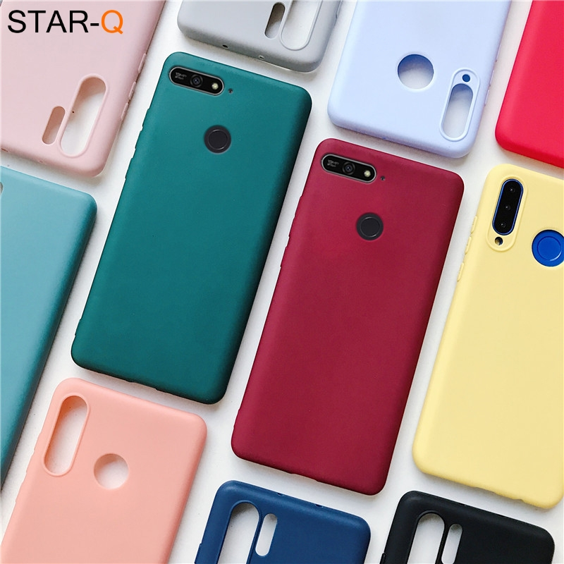 Candy Color Silicone Phone Case For Huawei 7a 5.45 7c Pro 5.7 5.99 Russia Matte Soft Tpu Back Cover On Honor Play 7x 6x 7s