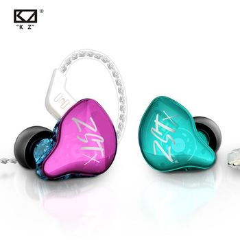 KZ ZSTX Headset 1BA+1DD drivers Hybrid HIFI Bass Earbuds In-Ear Monitor Noise Cancelling Sport Earphones Silver plated cable