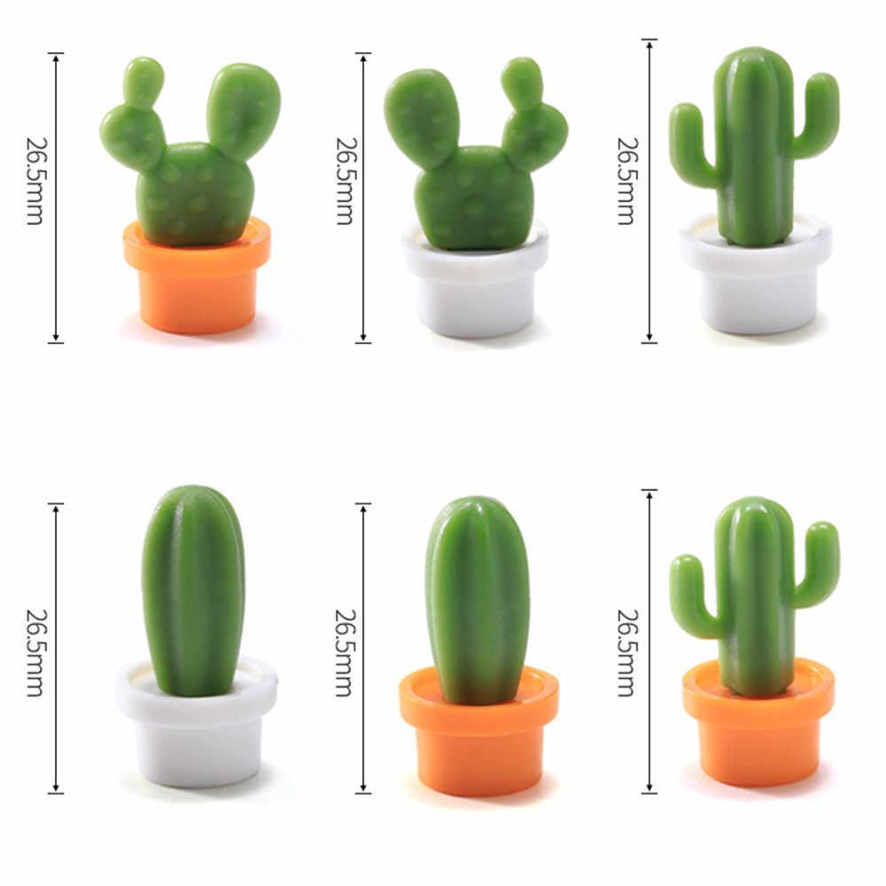 6 pièces drôle de haute qualité mignon Succulent plante aimant bouton Cactus réfrigérateur Message autocollant réfrigérateur accessoires L * 5