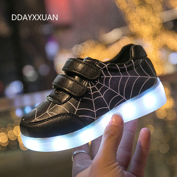2020 New Kids Glowing Sneakers with light Spiderman USB Charging Luminous Lighted Sneakers Boy Girls Colorful LED Children Shoes 2016 spring new arrival children led light shoes boys and girls breathable shoes kids usb charging flash colorful luminous shoes