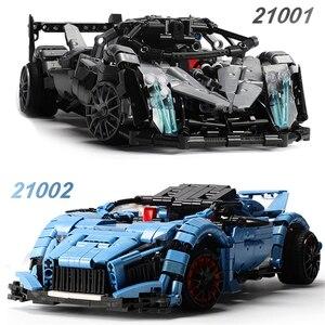 Новый XINGBAO 21001/21002 блоки дистанционного управления Technic Car Series 2 стили гоночный автомобиль строительные блоки кирпичи RC гоночный автомобиль м...