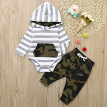 Get more info on the 2019 Fashion Baby Clothes Infant Baby Long Sleeve Striped Hoodie Romper Jumpsuit+ Camouflage Pants Outfits Set